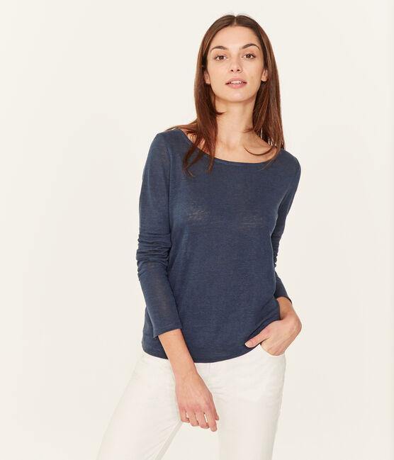 Langarm-leinen-t-shirt damen blau Haddock