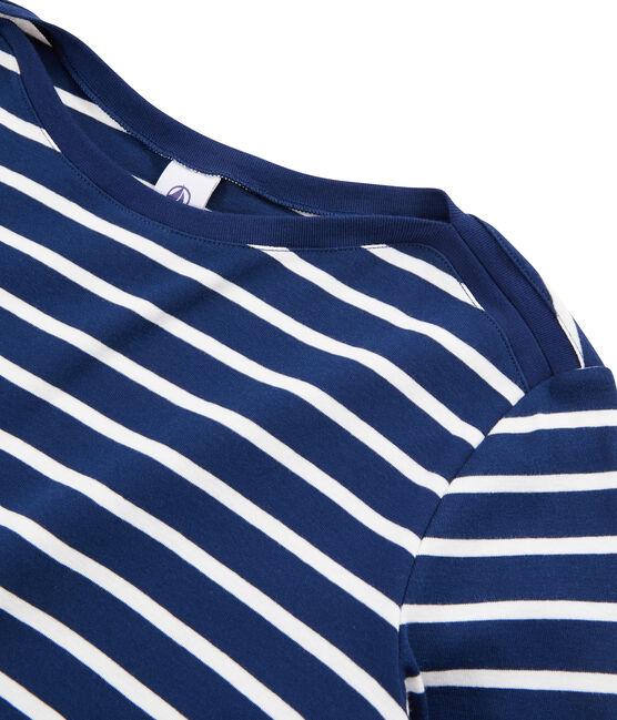 Gestreiftes T-Shirt für Damen blau Medieval / weiss Marshmallow