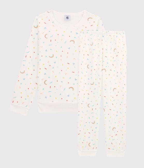 Pyjama mit Konfetti-Print für kleine Mädchen aus Molton weiss Marshmallow / weiss Multico