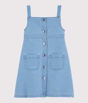 Kinder-Latzkleid aus Denim-Molton für Mädchen blau Denim clair