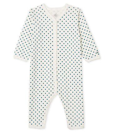 Baby-Strampler ohne Fuß aus Rippstrick für Mädchen weiss Marshmallow / blau Contes