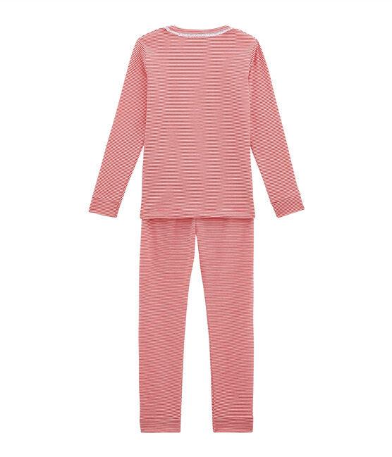 Eng anliegender Mädchen Schlafanzug rosa Impatience / weiss Marshmallow