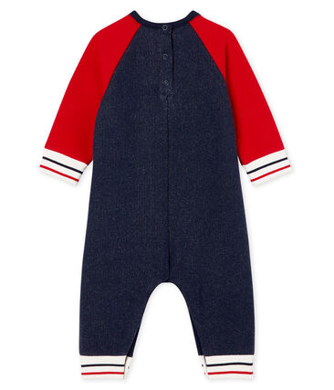 Baby-Langoverall aus Molton für Jungen blau Smoking / rot Terkuit