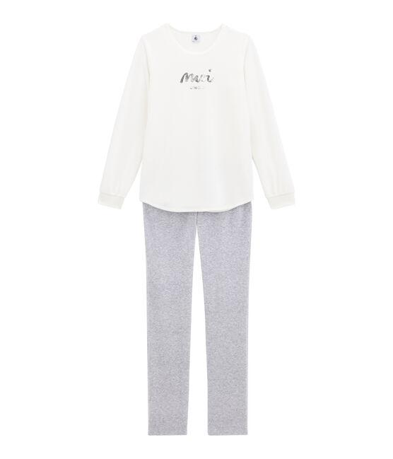Mädchen Schlafanzug weiss Marshmallow / grau Poussiere