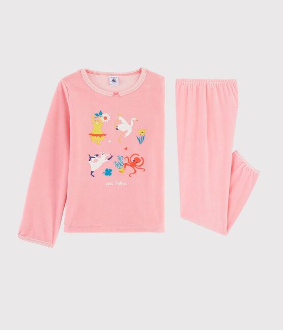 Rosafarbener Yoga-Pyjama mit Tiermuster für kleine Mädchen rosa Gretel