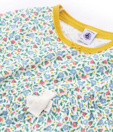 Rippstrick-Kurzpyjama für kleine Mädchen weiss Marshmallow / weiss Multico