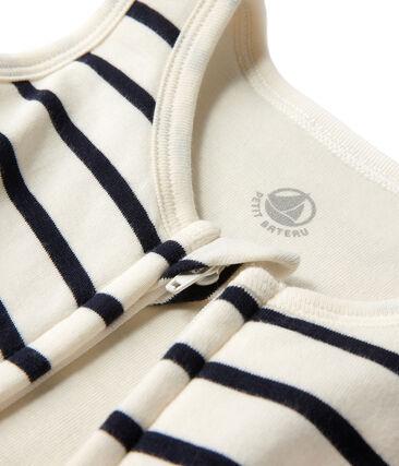 Gestreifter Baby-Schlafsack beige Coquille / blau Abysse