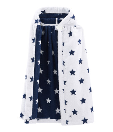 Baby-Badecape aus Frottee weiss Marshmallow / blau Medieval