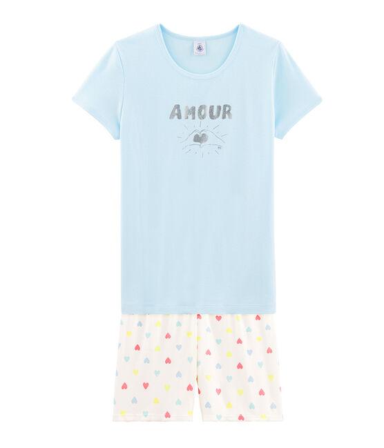Rippstrick-Kurzpyjama für Mädchen blau Glacis / weiss Multico