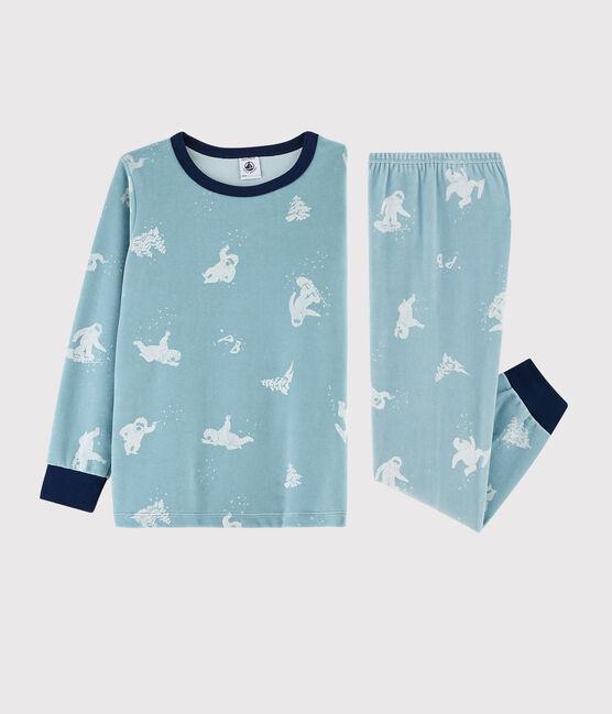 Samt-Pyjama mit Yeti-Print für kleine Jungen BRUME/MARSHMALLOW