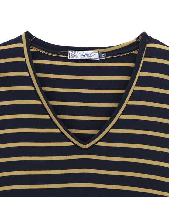 damen-langarmshirt blau Smoking / gelb Brindille Satin