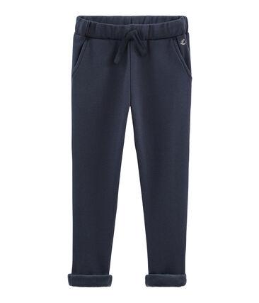 Warme Molton-Hose für Jungen blau Smoking