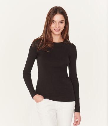 Klassisches, einfarbiges, langärmeliges Damen T-Shirt mit rundem Ausschnitt