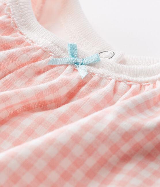 Baby-Kurzoverall Mädchen weiss Marshmallow / rosa Rosako
