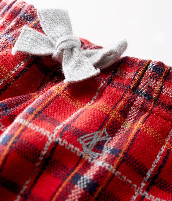 Karierte Strick-Babyhose für Jungen rot Terkuit / weiss Multico