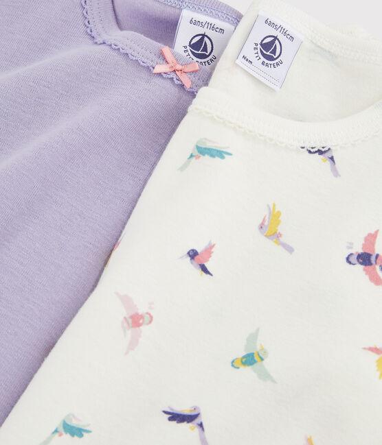 2er-Set kurzärmlige T-Shirts mit Vogel-Print für kleine Mädchen lot .