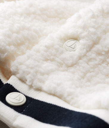 Unisex-Baby-Cardigan aus Sherpa in Schaffelloptik weiss Marshmallow