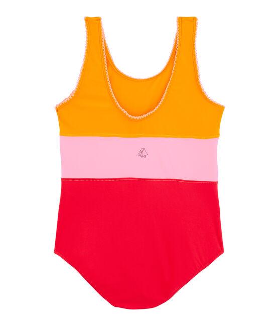 Umweltfreundlicher einteiliger Badeanzug Kinder Mädchen orange Tiger / weiss Multico