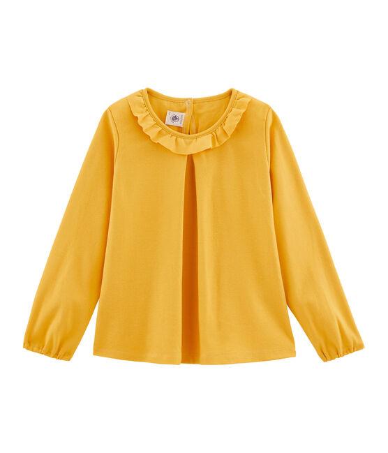 Langärmeliges Kinder-T-Shirt Mädchen gelb Boudor