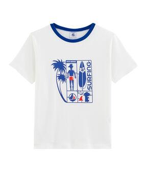 Kinder-T-Shirt für Jungen weiss Marshmallow / blau Surf