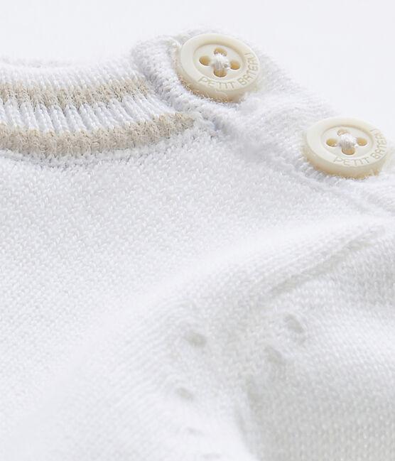 Baby-Jungen-Pullover aus Jersey weiss Marshmallow