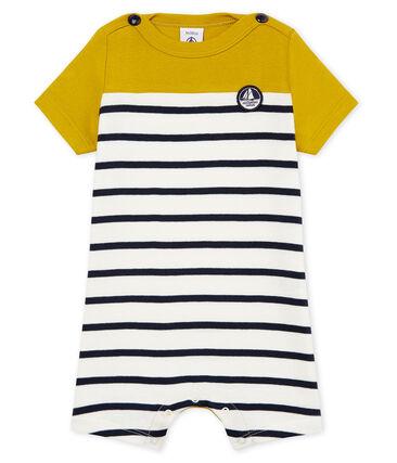 Baby-kurzoverall aus 1x1-rippstrick jungen gelb Bamboo / weiss Marshmallow
