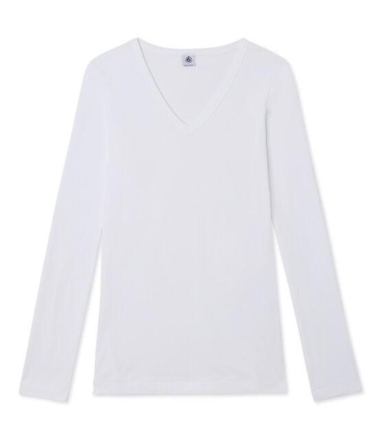 Damen-Langarmshirt mit V-Ausschnitt weiss Ecume