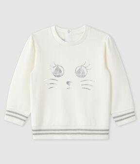 Baby-Sweatshirt aus Molton für Mädchen weiss Marshmallow