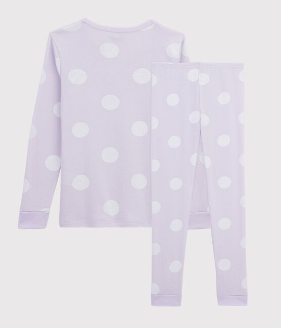Gepunkteter Snugfit-Pyjama aus Rippstrick für Mädchen violett Liseron / weiss Ecume
