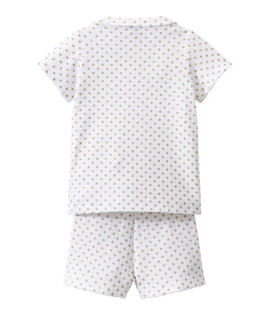 Kurzer Mädchen-Schlafanzug weiss Ecume / gelb Dore