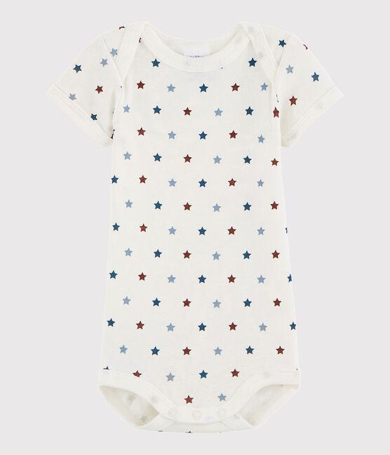 Kurzärmeliger Baby-Body Mädchen/Jungen weiss Marshmallow / weiss Multico