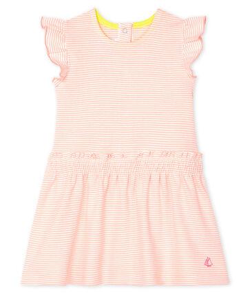 Babykleid mit Milleraies-Streifen für Mädchen rosa Patience / weiss Marshmallow