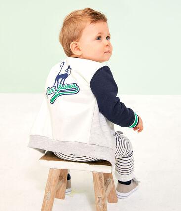Baby-Cardigan aus Molton für Jungen grau Beluga / weiss Multico