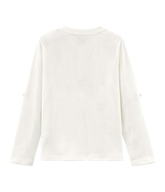 Langärmeliges Kinder-T-Shirt Jungen weiss Marshmallow