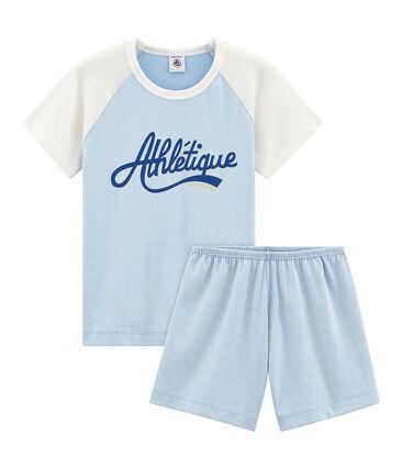 Rippstrick-Kurzpyjama für kleine Jungen blau Placid / weiss Marshmallow