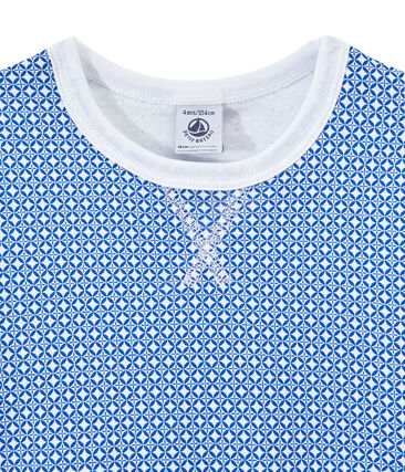 Kurzärmeliger Jungen-Schlafanzug aus gedoppeltem Jersey weiss Ecume / blau Perse