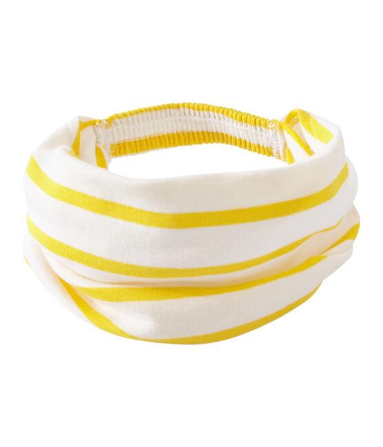 Gestreiftes Mädchen-Kopftuch weiss Marshmallow / gelb Shine