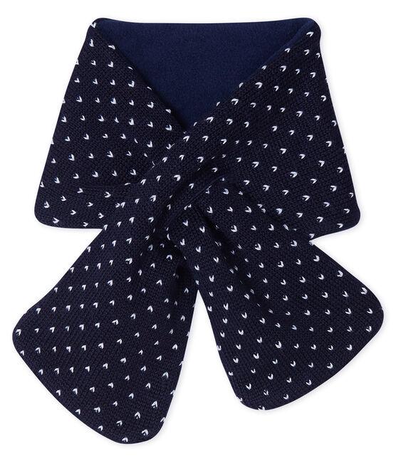 Baby-Schal, unisex mit Fleecefutter blau Smoking / weiss Marshmallow