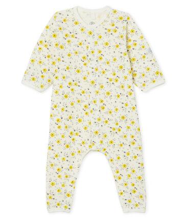 Langer Baby-Overall aus Wolle und Baumwolle weiss Marshmallow / weiss Multico