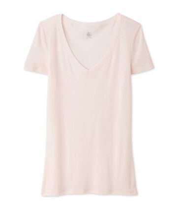 Kurzärmliges T-Shirt mit V-Ausschnitt für Damen rosa Fleur