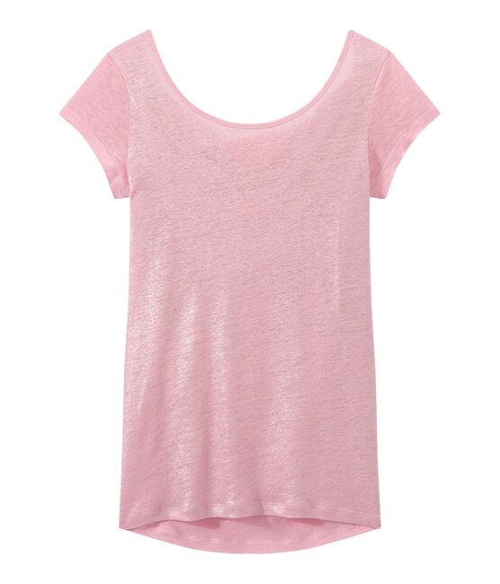 Damen-T-Shirt mit Wasserfall-Ausschnitt aus irisierendem Leinen rosa Babylone / grau Argent