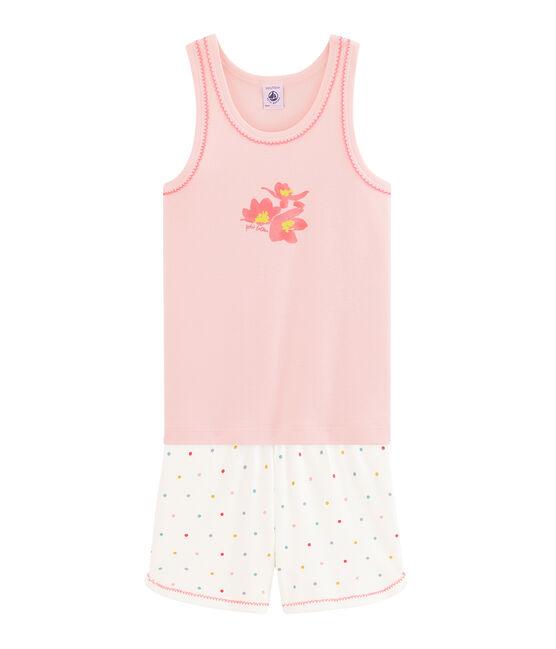 Kurz-Pyjama aus Rippstrick für kleine Mädchen rosa Minois / weiss Multico