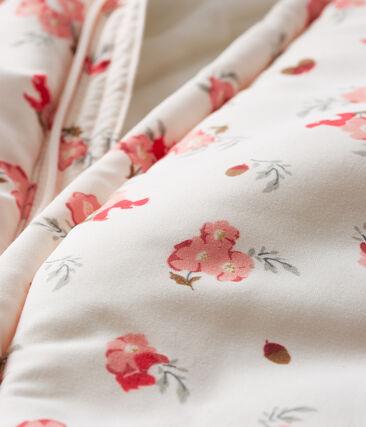 Baby-Fliegeroverall aus Mikrofaser für Mädchen rosa Fleur / weiss Multico