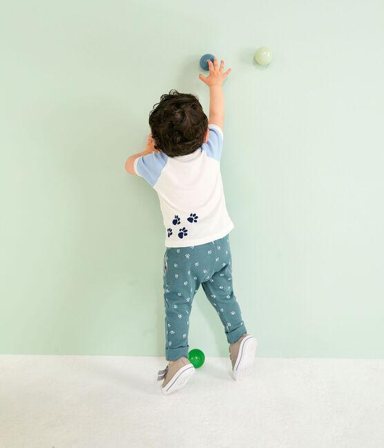 Kurzärmeliges Baby-T-Shirt für Jungen weiss Marshmallow / blau Jasmin