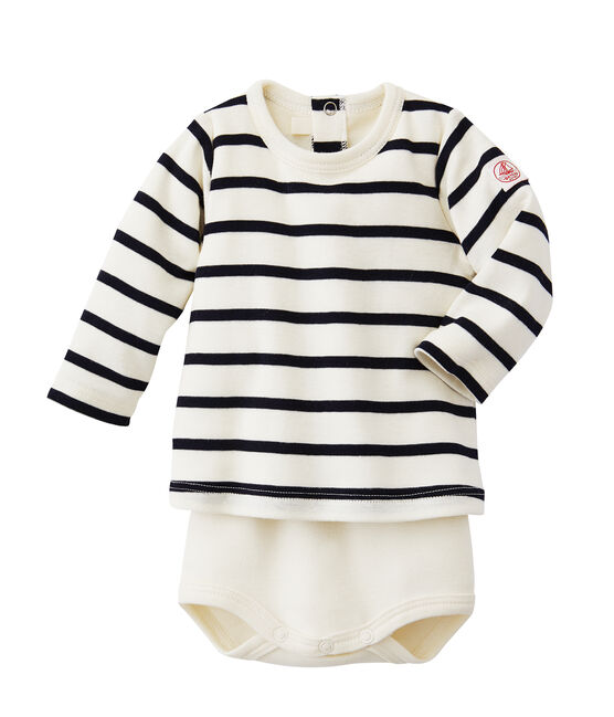 Gestreiftes Baby-Body-T-Shirt beige Coquille / blau Abysse