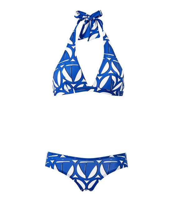 Bedruckter Damen-Bikini weiss Marshmallow / blau Perse