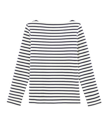 Emblematisches Streifenshirt für Damen beige Coquille / blau Smoking