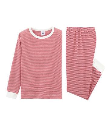 Rippstrick-Pyjama für Jungen rot Carmin / weiss Marshmallow