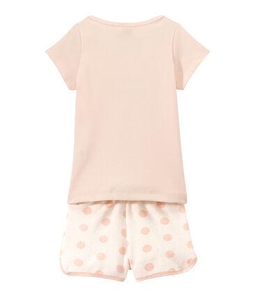 Kurzer Mädchen-Schlafanzug im Materialmix
