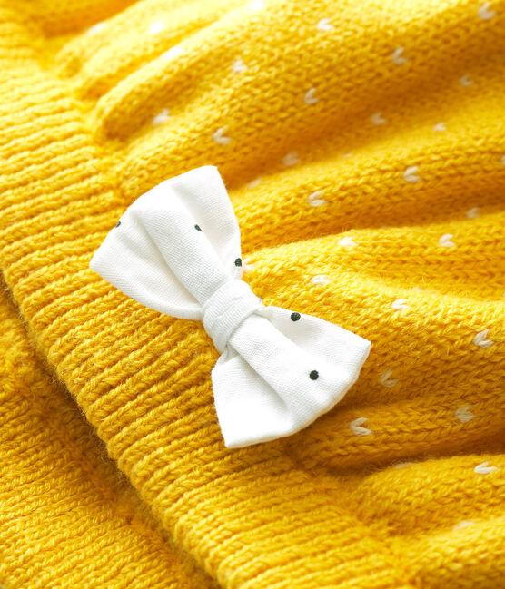 Baby-Baskenmütze aus Strick für Mädchen gelb Honey / weiss Marshmallow